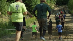 Big group of runners from behind Stock Footage