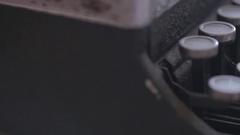 Old vintage typewriter keys, slider shot Stock Footage