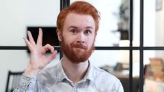 Okay Sign by Beard Man Stock Footage