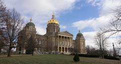 Des Moines Iowa Capital Building Government Dome Architecture Stock Photos