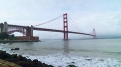 San Francisco Golden Gate Bridge Time Lapse Cloudy Bay Ocean Water Stock Footage