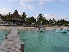 Morelos Mexico beach park from ocean pier DCI 4K Stock Footage