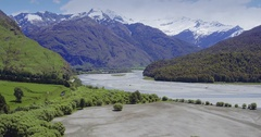Aerial of countryside and river, mt aspiring national park, New Zealand Stock Footage