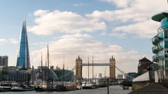 London cityscape - Tower bridge and Shard, Thames river with boats, time lapse Stock Footage