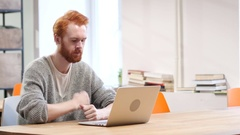 Loss, Frustrated Man Working on Laptop Stock Footage