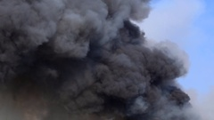 Billowing black Smoke from burning Stock Footage