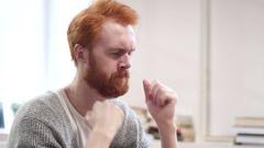 Headache, Tense Man at Work Stock Footage