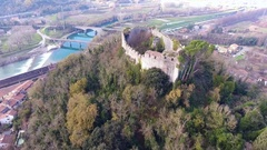 Aerial shot, medieval ruins on the hill, overcast weather, Europe, film.. Stock Footage