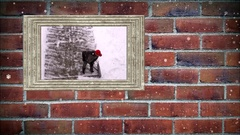 Photo frame of man shoveling snow on sidewalk, with snow effect Stock Footage