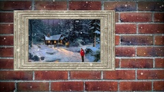 Photo frame of oil paiinting on  brick wall,  with snow effect Stock Footage