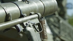 Military rack focus from rocket launcher to tank Arkistovideo
