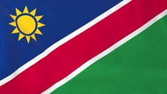 Flag of Namibia waving in the wind, seemless loop animation Stock Footage