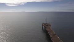 Ventura Pier Looking Out to Sea Aerial Stock Footage