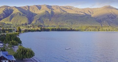 Aerial of  lake wanaka and mountains in the south island, New Zealand Stock Footage
