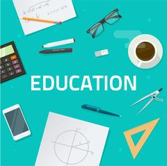 Education objects on work desk, school math lesson study concept Stock Illustration