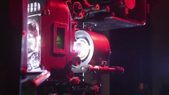 Medium Shot 70mm Projector With Lens Flare Stock Footage