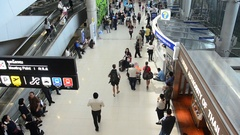 Passengers arriving and departing at Suvarnabhumi international airport Stock Footage