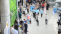 Blurred motion of thai people and foreigner traveller wait flight and walk Stock Footage
