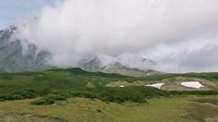 Panorama at foot of volcano Avachinskaya group stock footage video Stock Footage