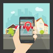 Augmented reality on mobile phone, virtual location smartphone navigation Stock Illustration