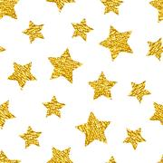 Seamless pattern with gold shine glitter stars on white background Piirros