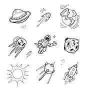 Planets, rockets, spaceships, ufo, stars, astronaut, alien vector set in sketch Piirros