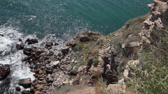 Remains of the medieval fortress of Kaliakra, Bulgarian Black Sea Stock Footage