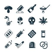 Drugs, alcohol, pills, tablet, narcotic abuse vector icons Stock Illustration