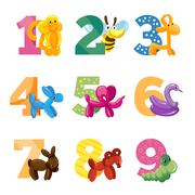 Birthday anniversary cartoon numbers with cute balloon animals for baby party Stock Illustration