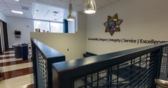 Timelapse of a police station lobby Arkistovideo