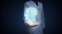 Doctor open palm, Brain head shape connect digital lines, intelligence Stock Footage