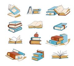 Doodle books, hand drawn novel, encyclopedia, story, dictionary vector icons Stock Illustration