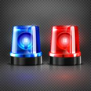 Realistic police ambulance flashing red and blue sirens isolated vector Piirros