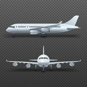 Realistic 3d detail airplane, commercial jet isolated vector illustration Piirros