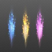 Vector fireworks, sparks christmas lights isolated on plaid background Stock Illustration