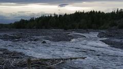 Studenaya River at dusk Stock Footage