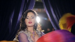 Portrait of Brunette woman dances belly dance with cloth Stock Footage