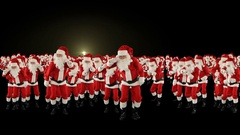 Santa Claus Crowd Dacing, Christmas Party Earth Shape, fireworks display Stock Footage