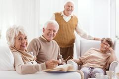 Pensioners of retirement home Stock Photos
