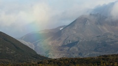 Rainbow Between Two Moutnains Stock Footage