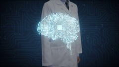 Doctor touching digital screen, Brain CPU chip, grow artificial intelligence. Stock Footage