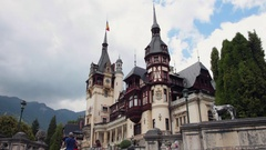 SINAIA, ROMANIA, 2016 Peles Castle Tourists at Neo-Renaissance fairytale castle Stock Footage