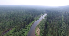 Summer landscape shooting from air, Yakutia, Siberia Stock Footage