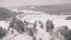 Aerial view of winter village in Russia. Bashkortostan Stock Footage