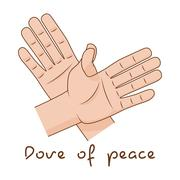 Hands making fly of bird. Dove of peace sign creative idea. Vector illustration Piirros