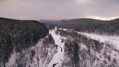 Winter in the Ural mountains. Russia. Bashkortostan. aerial view Stock Footage