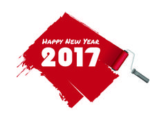 Happy New Year 2017 vector illustration in red paint color with roller Stock Illustration