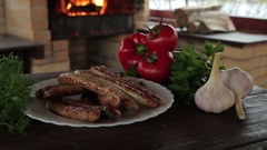 Grilled sausages on charcoal Stock Footage