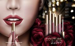 Rose lip gloss ad Stock Illustration
