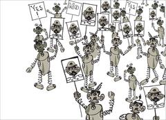Robots On Political Demonstration Piirros